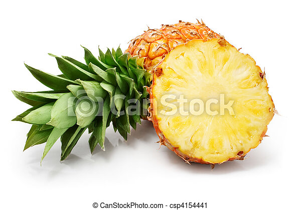 fresh pineapple fruits with cut and green leaves - csp4154441