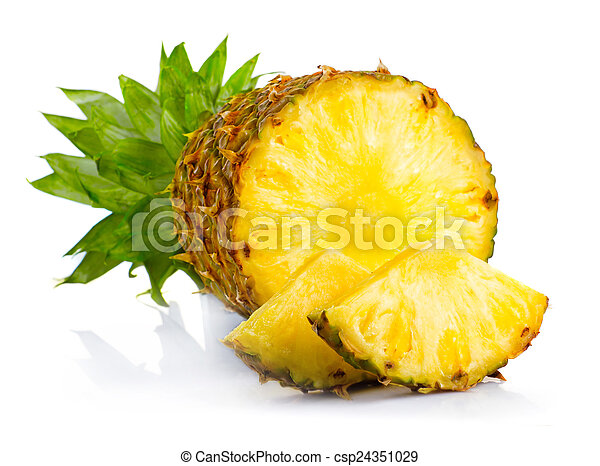 Fresh pineapple fruits with cut and green leaves isolated - csp24351029