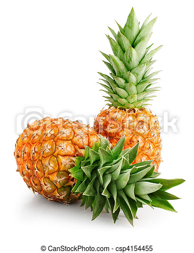 fresh pineapple fruits with green leaves - csp4154455