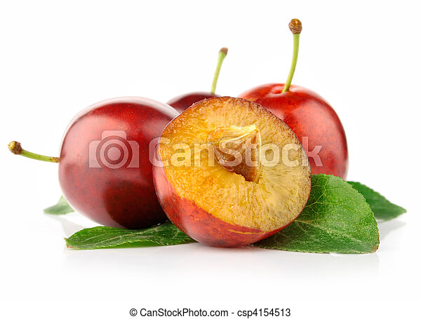 fresh plum fruits with cut and green leaves - csp4154513