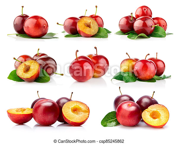 Fresh plum fruits with green leaves. - csp85245862