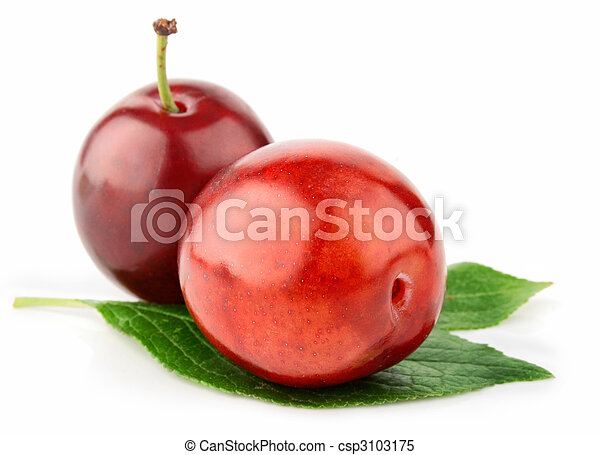 fresh plum fruits with green leaves isolated - csp3103175