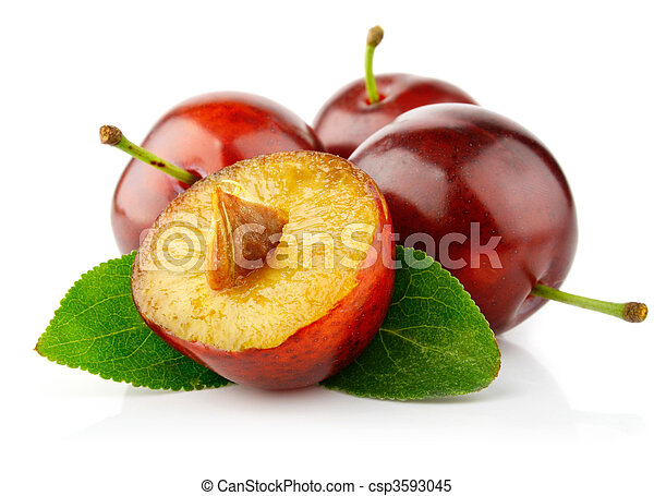 fresh plum fruits with green leaves - csp3593045