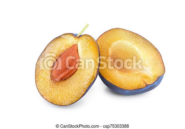 fresh plum half isolated on white background - csp75303388