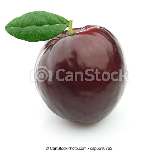 Fresh plum with leaves - csp5518763