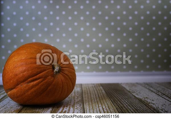 fresh pumpkin in interior wooden room on chair - csp46051156