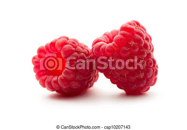 Fresh raspberry on white background - csp10207143