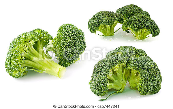 Fresh, Raw, Green Broccoli Pieces, Cut and Ready to Eat - csp7447241