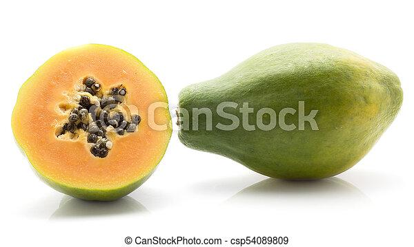 Fresh Raw Papaya Isolated On White