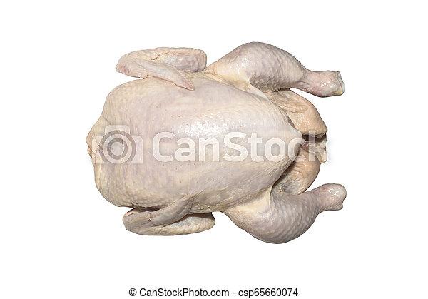 Fresh raw plucked chicken carcass. - csp65660074