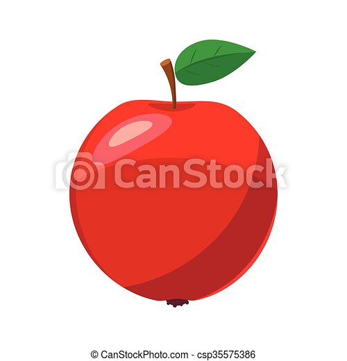 Fresh red apple icon, cartoon style - csp35575386