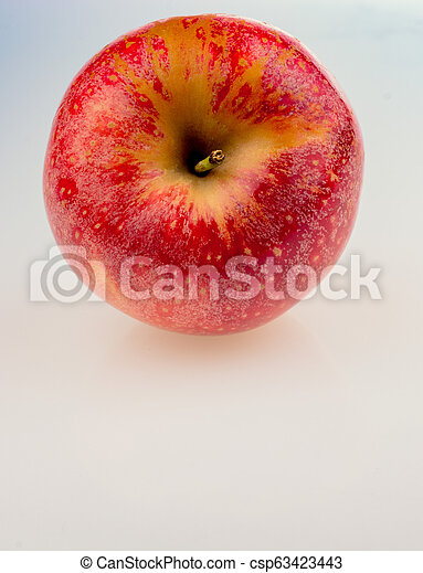 Fresh red apple on white background - csp63423443