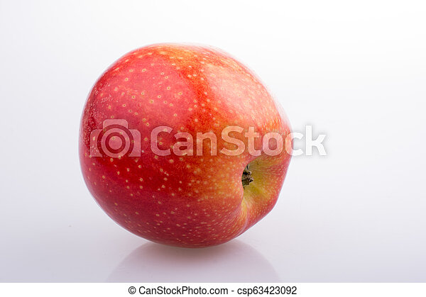 Fresh red apple on white background - csp63423092