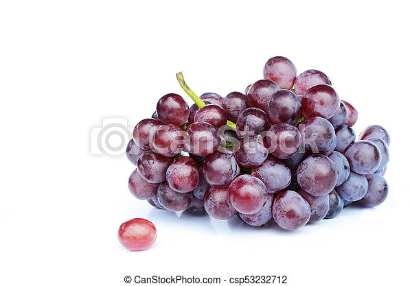Fresh red grape fruits on white backgrounds - csp53232712