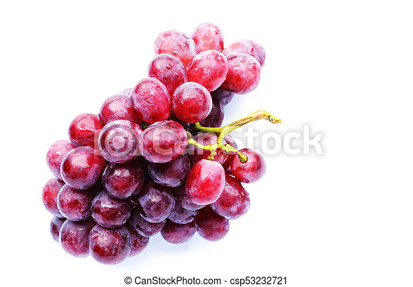 Fresh red grape with water bubble on white backgrounds - csp53232721