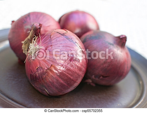 Fresh red onions plate - csp55702355