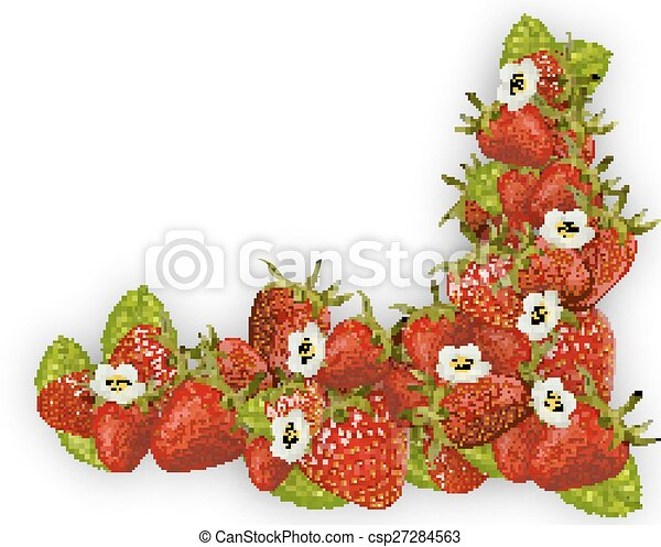 Fresh red strawberry frame. Frame with strawberry, vector art ...