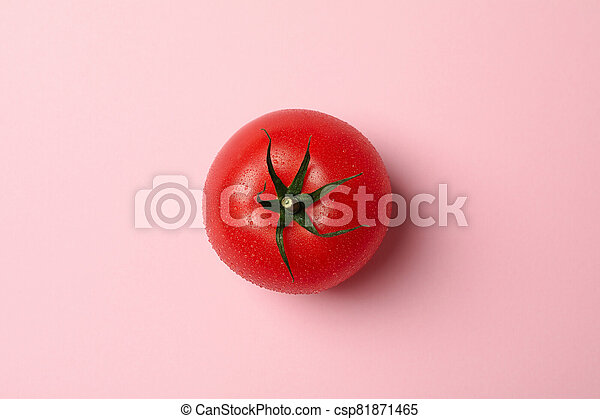 Fresh ripe tomato on pink background, top view - csp81871465