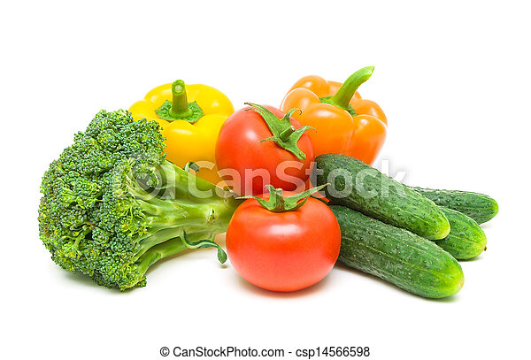 Fresh ripe vegetables. tomatoes, broccoli, peppers and cucumbers isolated on white background close-up. - csp14566598