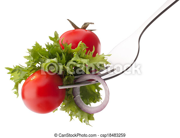 Fresh salad and cherry tomato on fork isolated on white background cutout. Healthy eating concept. - csp18483259