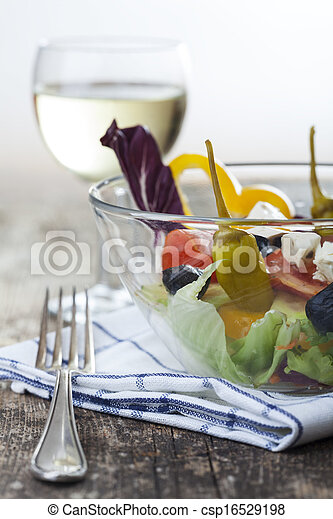 fresh salad in a glass bowl - csp16529198