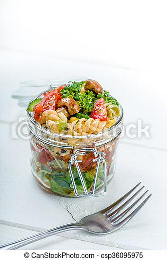 Fresh salad in a glass. on the go - csp36095975