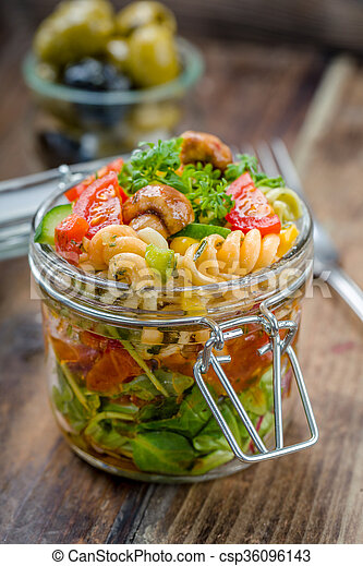 Fresh salad in a glass. on the go - csp36096143