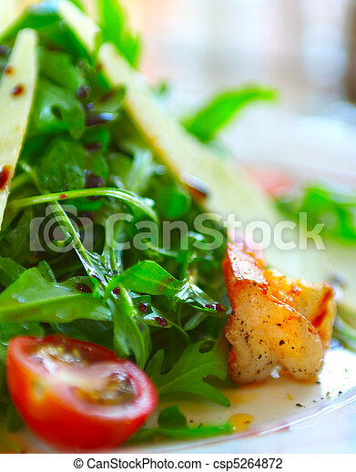 Fresh salad with a tomato, cheese and the fried meat - csp5264872
