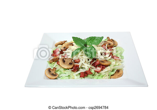 fresh salad with mushrooms, cheese and fried bacon - csp2694784