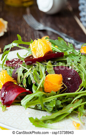 fresh salad with roasted beetroot and orange - csp13738943