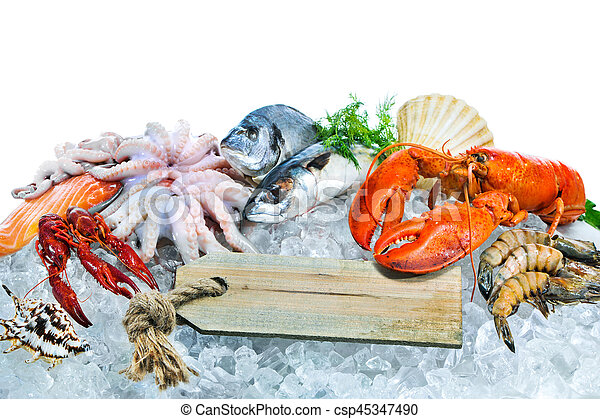 Fresh seafood on crushed ice - csp45347490