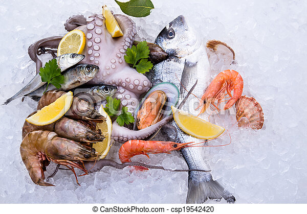 Fresh seafood on ice - csp19542420