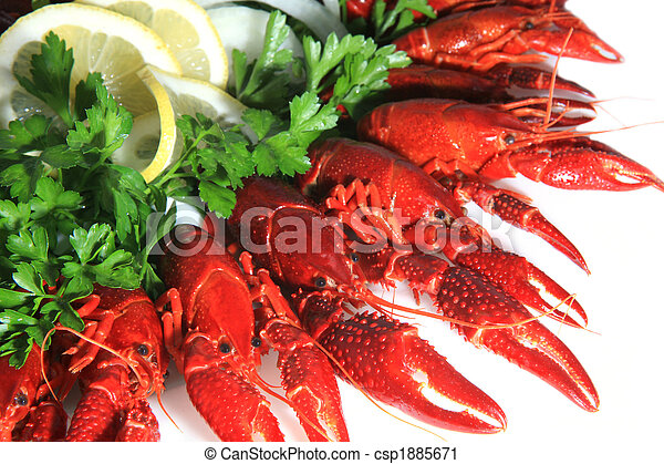 Fresh seafood with herb and lemon on a plate - csp1885671