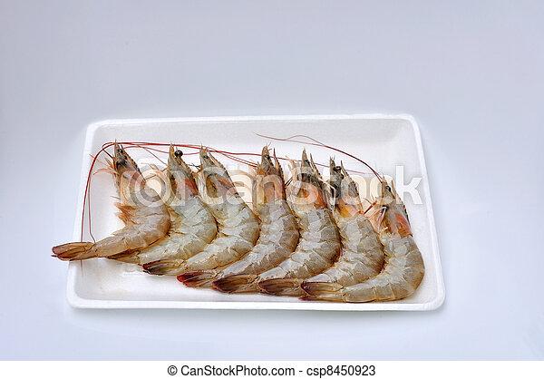 Fresh shrimps on foam package - csp8450923