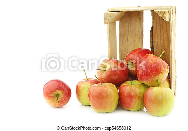 """fresh """"Sissi red"""" apples in a wooden crate - csp54658012"""