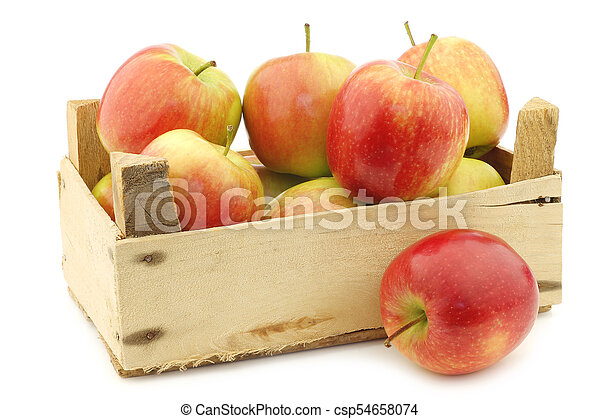 """fresh """"Sissi red"""" apples in a wooden crate - csp54658074"""