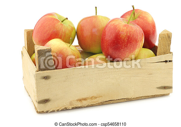 """fresh """"Sissi red"""" apples in a wooden crate - csp54658110"""