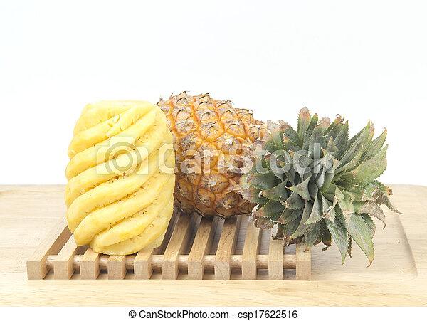 Fresh slice pineapple on white background - csp17622516