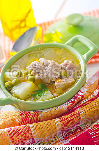 Fresh soup with meat and vegetables - csp12144113