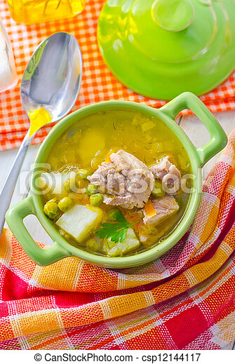 Fresh soup with meat and vegetables - csp12144117
