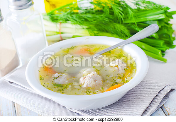fresh soup with meat balls - csp12292980
