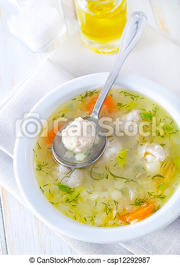 fresh soup with meat balls - csp12292987