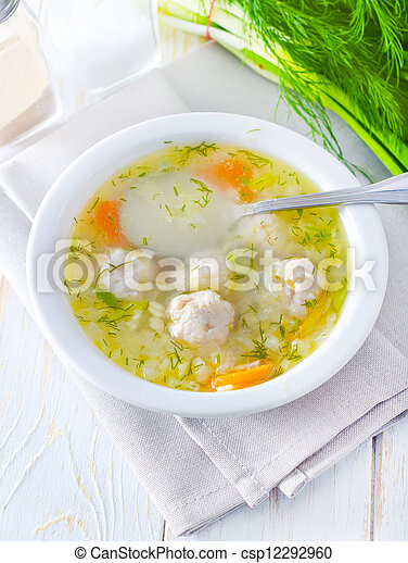 fresh soup with meat balls - csp12292960