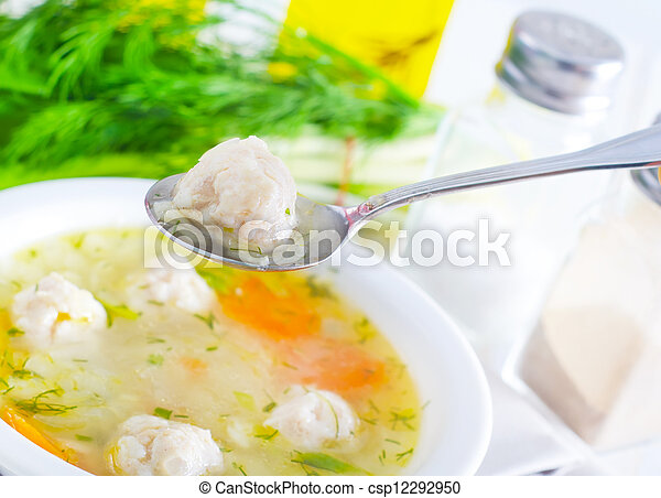 fresh soup with meat balls - csp12292950