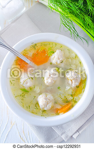 fresh soup with meat balls - csp12292931