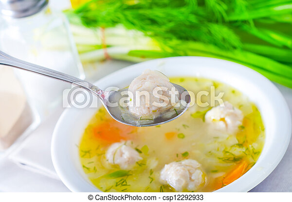 fresh soup with meat balls - csp12292933