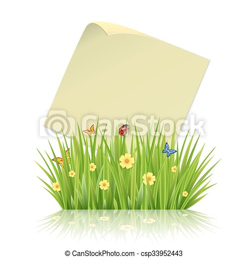 Fresh spring green grass frame template with curling blank sheet ...