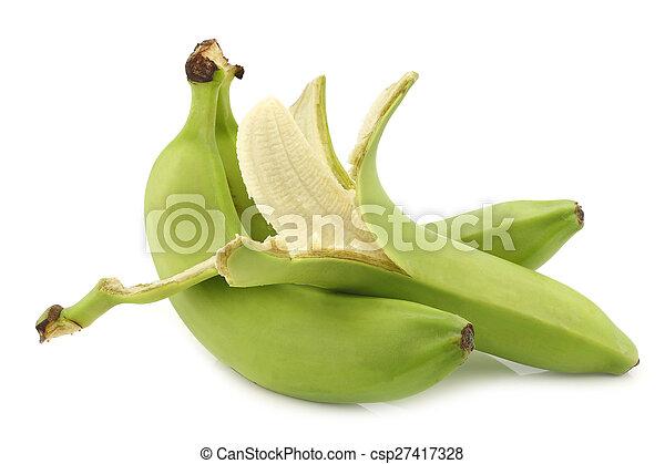 fresh still unripe bananas - csp27417328