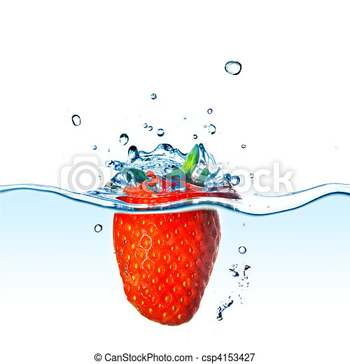 Fresh strawberry dropped into blue water with splash isolated on white - csp4153427