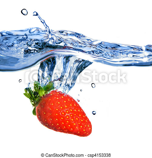 Fresh strawberry dropped into blue water with splash isolated on white - csp4153338